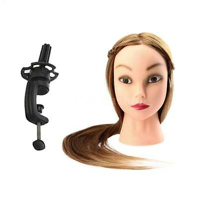 """27"""" Female Dummy Head Long Hair Hairdressing Training Head Model with Clamp M3F9"""