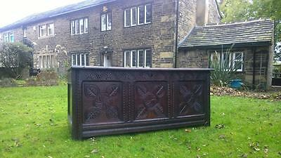 A Large Antique 17th Century Carved Oak Dowry Chest / Coffer