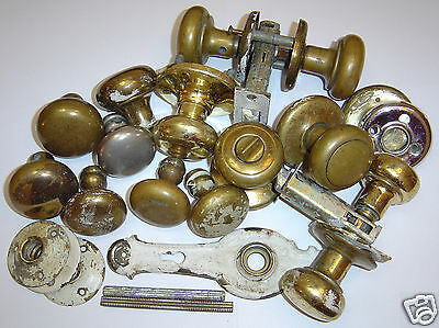 LOT (20+ Pcs.) Antique / Vintage Brass Door Knobs  Sets (circa 1940's-1950's)