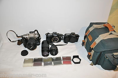 Canon EOS Elan II, 650 And Rebel 35mm Film Cameras With Lenses And Accessories