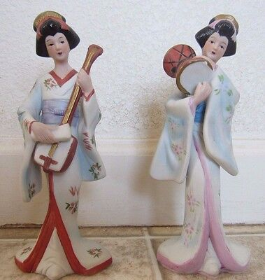 Set Of Two Japanese Porcelain Geisha Figures With Instruments