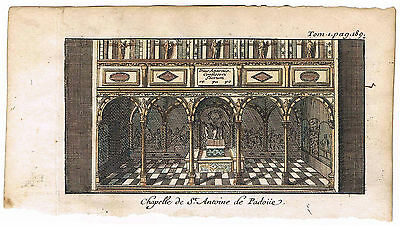 Chapel of St. Anthony of Padua. de Rogissart Genuine 1707 Italy Les delices...