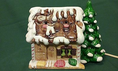 Vintage Light-up Ceramic Gingerbread House with Tree