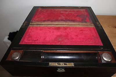 ANTIQUE VICTORIAN  WRITING SLOPE/SECRET DRAWERS inlaid mother pearl