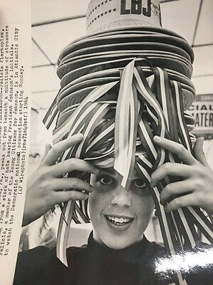 Lyndon B. Johnson LBJ Hats Stacked On Young Citizens For Johnsons Head Photo