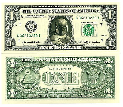 STAR WARS - BOBA FETT - VRAI BILLET 1 DOLLAR US ! Collection Han Solo Jabba Hutt