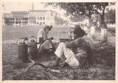 SINGAPORE  - Vintage Photograph of Indian Coffee Hawker