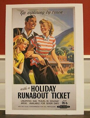 Vintage railway poster Holiday runabout ticket (A4 size)
