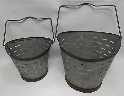 Set of 2 Galvanized Metal Industrial/Rustic Finish Garden Pail Fruit Vegetables