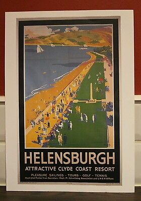 Vintage railway poster Helensburgh (A4 size)