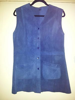 Vintage Navy Suede Detailed Waistcoat - Size 12/14 - Mint Condition