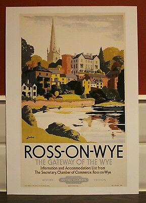 Vintage railway poster Ross-on-wye (A4 size)