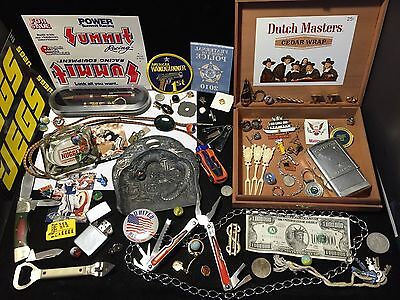 ANTIQUE JUNK DRAWER LOT-Folding Knives-Zippo-Marbles-Mens Jewelry-Coins