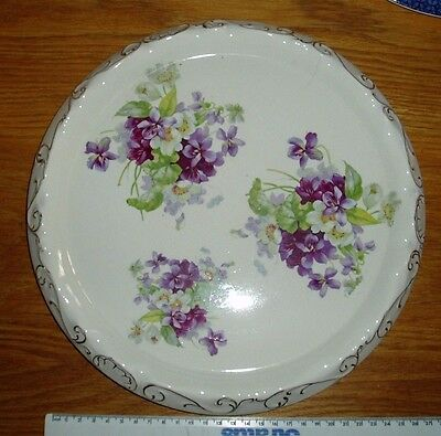 Purple/Lilac Floral Charger/Platter/Cheese/Cake Plate 29cm 11.5in Vintage