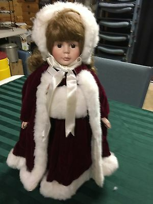 Vintage Christmas Doll With Cape  And Muff For Hands Porcilain