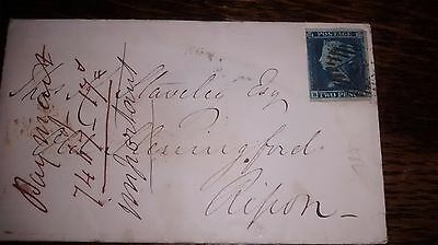 2d blue SG14 4 margin on 1853 envelope London to Ripon with Charing X backstamp
