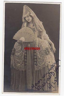 Early pantomime actress Marjorie Dixon in costume. Signed postcard