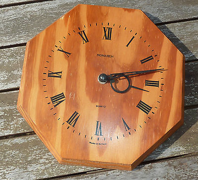 Antique Vintage Monarch WOODEN QUARTZ WALL- Clock-VGC / WORKING COND.-BRITISH