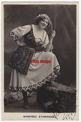 Stage actress and singer Winifred Etheridge in costume. Signed postcard