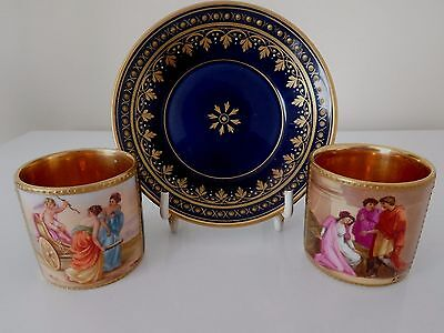 2 Good Quality Vienna Miniature Cup 1 And Saucer With Jewelling Signed