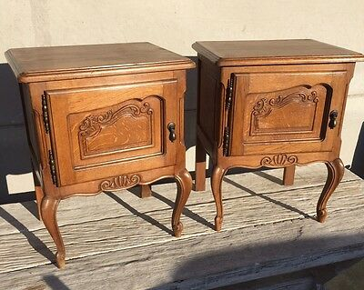 French Oak Bedside Tables Cabinets