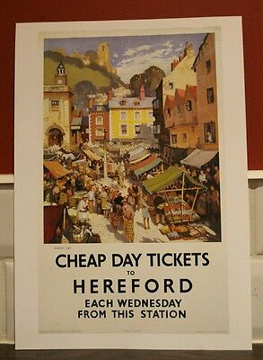 Vintage railway poster Hereford (A4 size)