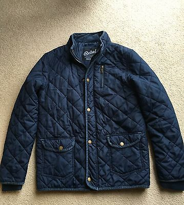 Girl quilted blue coat jacket annorak age 11-12 yeas in good condition