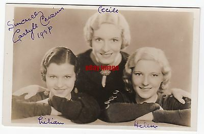 Stage singers The Carlyle Cousins. Signed postcard