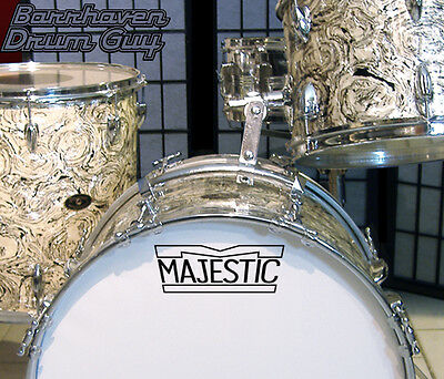 Majestic, 60s/70s Vintage, Repro Logo - Adhesive Vinyl Decal, for Bass Drum