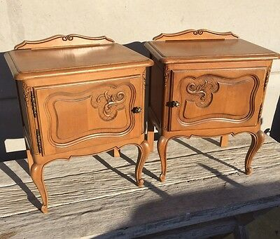 French Oak Bedside Tables Cabinets With Gallery