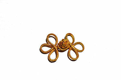"Gold 2""  3 Loops Chinese Frogs Buttons Closure Knots by 6 pairs"