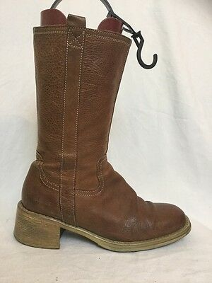 LADIES Brown Mid-calf Boots Size 38 Uk 5
