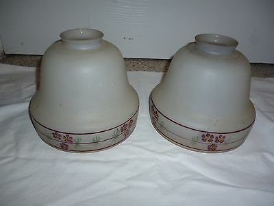 Pair of Antique Hand Painted Glass Shades