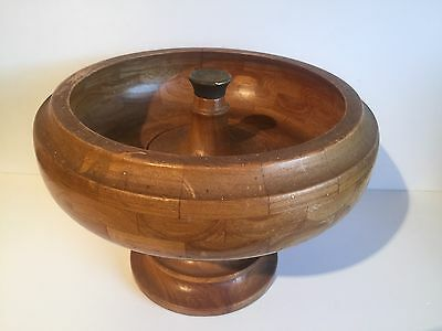Vintage Turned Wooden Cambridgewear Chequered Fruit Bowl