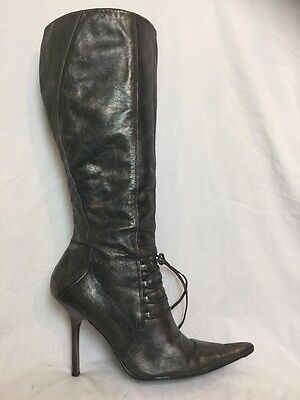LADIES Faith Faded Black Knee High Boots Size Uk 7