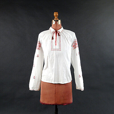 Vintage 70s Hungarian Ethnic White Cotton Red + Black Embroidered Boho Blouse L