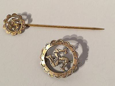 Two Vintage Gold Tone Triskelion Brooches