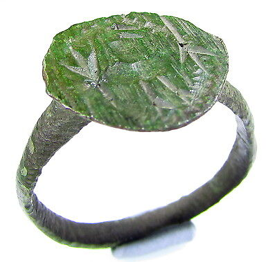 Rare Viking Era Bronze Seal Ring With Mythological Beast - Wearable - 1950