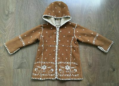 GAP Girls Toddler Faux Suede Sherpa Lining Coat Embroidered Flowers Size 2 Years