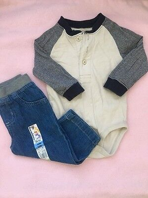 12 Month Oshkosh Henley Bodysuit And Gymboree Pants Outfit Boys Long Sleeve Baby