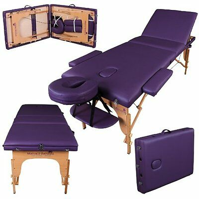 Massage Imperial® Deluxe Lightweight Purple 3-Section Portable Massage Table Bed