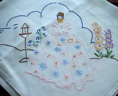 Tablecloth, Crinoline lady hand embroidered with flowers and garden