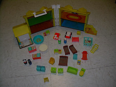 Fisher Price Little People Play Family House #952 30 Accessories Crib Pool Dog +