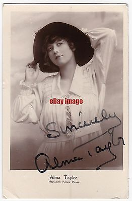 Early film actress Alma Taylor in costume. Signed postcard