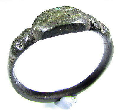 Stunning Viking Era Bronze Ring With Decorated Bezel - Wearable- 1953