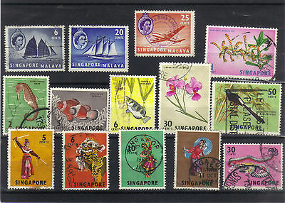 Singapore 1955 - 1968 Selection Most Fine Used 14 Different