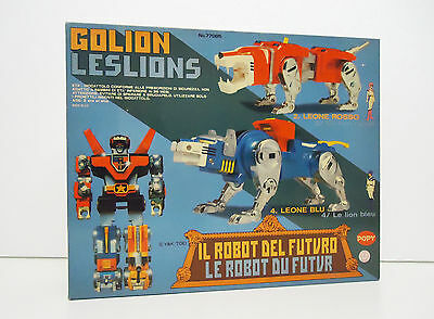 Vintage TOY Deluxe GOLION DX LESLIONS Red and Blue Lion BOX - POPY Y&K Toei