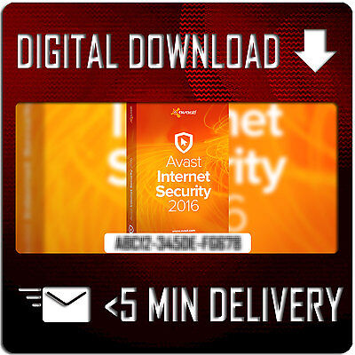 Avast Internet Security 2016 - 3 PC 2 Year GENUINE Full License Key |  5 MINUTE