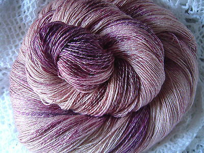 """Hand Painted: SeaWool Twist Seacell Merino """"Berry Blush"""" 100 mt/10 avail"""
