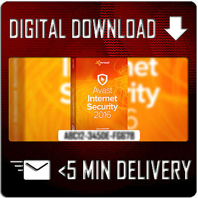 Avast Internet Security 2016 - 1 PC 1 Year - GENUINE License Key |  5 MINUTE DEL